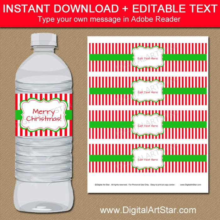 Christmas Water Bottle Labels Editable Printable Christmas