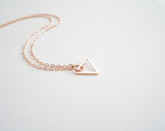Rose Gold Triangle Necklace. Geometric jewelry. Tiny triangle charm. Modern jewelry. Open triangle necklace. Layering