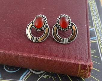 Vintage Art Deco  Earrings, Sterling Silver Stud Earrings w/  Red Glass, Art Deco Style Jewellery, Rose Gold Plated