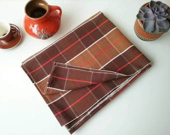 Retro Tablecloth from 1970s,Tablecloth with geometric pattern,Brown tablecloth,rectangular Table Linen,Cotton Table Cloth,Mid Century CLoth