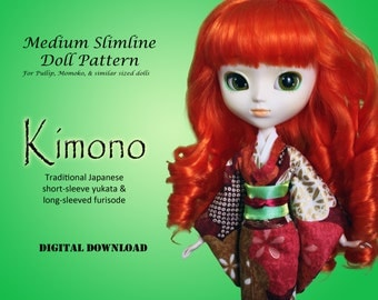 Easy Kimono custom doll clothes pattern for Type 4 Pullip, Momoko, Dal, Byul & Isul