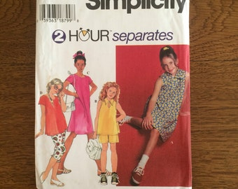 Girls Dresses Tops Pants Shorts, 2 Hour Separates, , Simplicity Pattern 7069 sizes 7 8 10