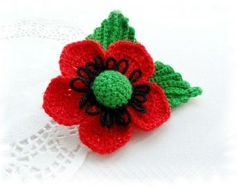Crochet Brooch - Red Poppy Flower - Red Glitter Flower - Large Corsage Brooch - Remembrance Day
