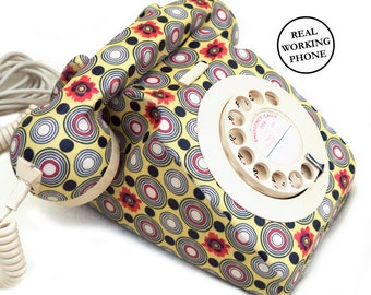 Geometric Floral Print Vintage Rotary Phone FULLY WORKING - Unique Home Decor