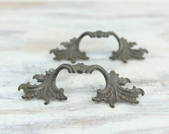 Vintage Metal Curved Drawer, Cabinet handles w/ ornate leaf pattern (set of 2)