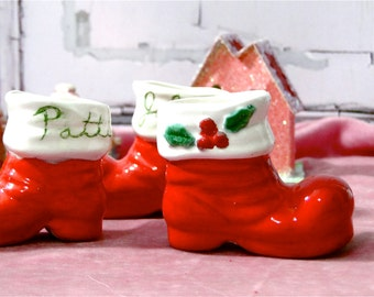 Christmas Santa Boots Set of 3 Small Red Ceramic Vintage 1979