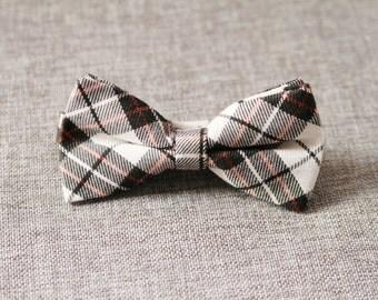Men's Bow Tie Bow Tie For Men - Wedding Groom Bowtie - Cream Brown Check Bow Tie Bowtie - Handmade Mens Gift Men Baby Boy Toddler Child