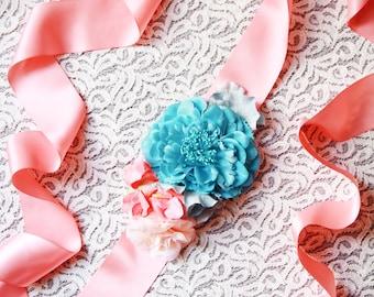 Woodland Bridal Sash Belt Wedding Dress Belts Sashes - Coral Teal Flower Sash Belt Floral Ribbon Belt Rustic Wedding Boho Wedding Sash Belt