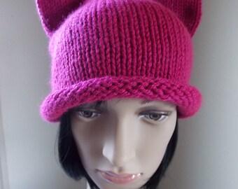 Pink Cat Hat, dark pink pussycat hat, fuchsia pussyhat, roll edge magenta cat hat, women's march hat, impeachment support hat