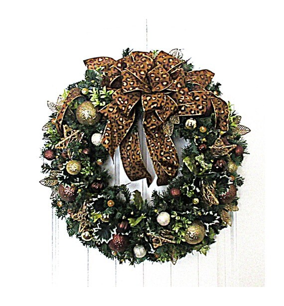 Christmas wreath gold bronze holiday