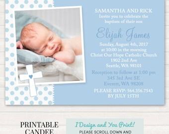 Blue Baptism Invitation - Boy Baptism Invitation - Boy Christening Invitation - Printable Baptism Invitation - Dedication Invite