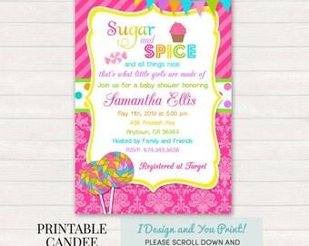 Sugar and Spice Baby Shower Invitation, Girl Baby Shower, Pink Baby Shower, Sugar and Spice, Candy Baby Shower, DIY Custom Printable Invite