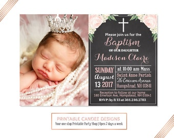 View baptism invitations by printablecandee on etsy chalk floral baptism invitation baby girl baptism invitation christening invitation chalk baptism stopboris Image collections