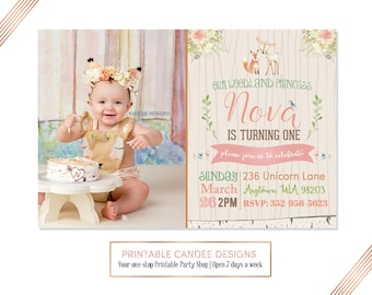 Woodland Princess Birthday Invitation, Fox Invitation, Deer Party, Girl Woodland Birthday, Floral Forest Party, Printable