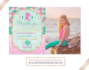 Mermaid Thank you, Under the sea Thank you, Pink Gold TealThank you, Mermaid 1st Birthday, Photo thank you card, Printable DIY