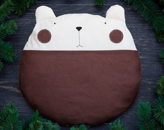 Brown Pillow, Baby Room Decor, Bear Pillow, Brown Round Cushion, Decorative Pillow, Brown Nursery Decor, Christmas Gifts for Him, Mom Gift