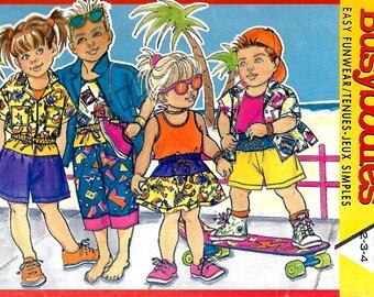 Butterick Busybodies 4005 Children's Shirt, Tank Top, Skirt, Shorts And Pants, 2-3-4, UNCUT