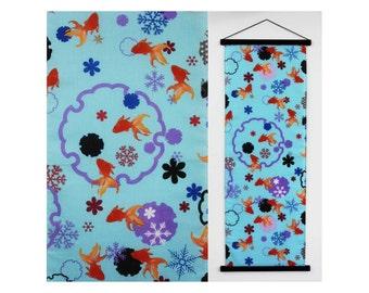Gold fish tenugui, kingyo Japanese noren fabric, blue sakura art print, japanese tea towel, kawaii fish wall art, kingyo ilustration cotton