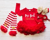 Girls Christmas Clothing..My First Christmas Bodysuit Personalized Leg Warmers Headband Set...Baby's First Christmas Outfit