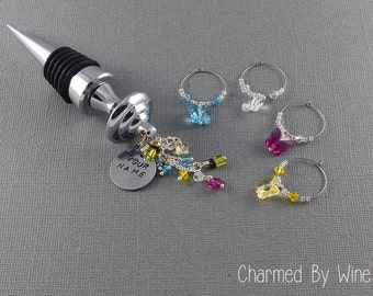 Personalized Wine Stopper and Butterfly Charm; Custom Wine Stopper, Wine Gifts, Wine Corks and Wine Charms; Mothers Day Gift