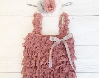 baby girl clothes-Vintage pink lace romper headband set-petti lace romper-newborn photo prop-1st birthday outfit-lace romper-newborn romper