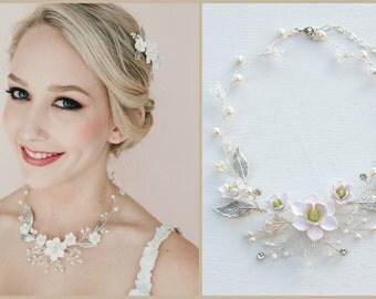 White magnolia Vine Necklace. Magnolia Bridal Vine Necklace. Southern Bridal Jewelry