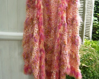 Handknit apricot coat orange jacket summer vest kimono luminous golden  peach  color soft comfortable versatile flexible OOAK