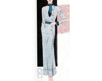 Plus Size Pattern (or any size) Vintage 1934 Skirt Suit - PDF - Pattern No 1606 Rosie