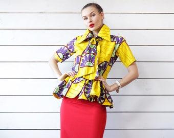 Vintage yellow purple green African print cotton short sleeve peplum ruffle hem fitted blouse top S