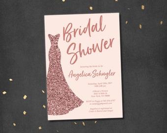 Rose Gold Bridal Shower Invitation rose gold wedding shower rose gold invitation rose gold blush Harper BV61 Printable or Printed