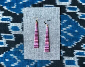 Long Purple Earrings, Ombre, Fiber Jewelry