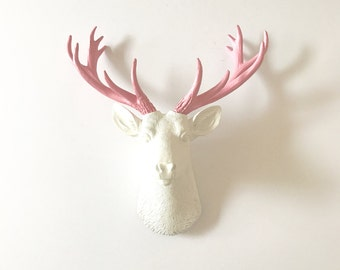 WHITE Light Pink SMALL Deer Head wall mount Faux Taxidermy animal head wall hanging / mounted stag head / deer head wall decor / woodland