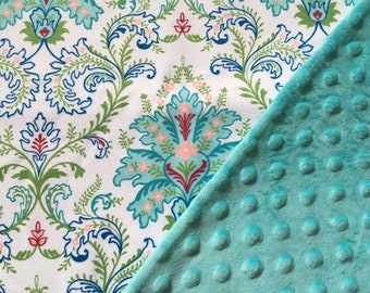 Baby Car Seat Canopy COVER or NURSING Cover: Paisley on White with Teal Aqua Minky, Personalization Available