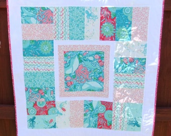 Beautiful baby girl blanket, Beach Theme Baby Quilt Under the Sea quilt with popular Coral Queen of the Sea Handmade Quilted Baby Blanket