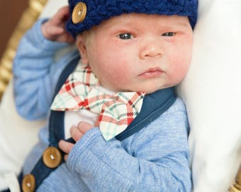Newborn Baby Boy Coming Home Outfit Set. Cardigan Bodysuit, Bow Tie Bodysuit, Navy Blue Pants & Newsboy Hat. Baby Shower Gift. Gender Reveal