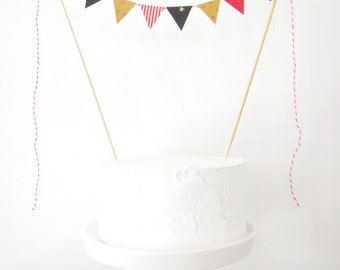 Ringmaster Birthday Cake Topper - Fabric Bunting - Wedding, Party, Shower Decor, red white stripes black gold stars dots circus carnival