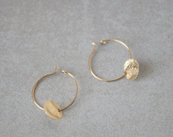 Gold filled hoops, Classic thin hoops with tiny gold discs, Bridesmaids gift, Minimal dangles, Dainty gold disc earrings, Everyday earrings