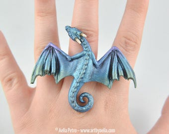 Adjustable Dragon Ring - Aurora Borealis Dragon - IN STOCK and Ready to Ship