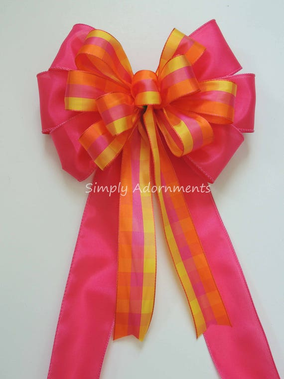 Pink Orange Yellow Plaid Wreath Bow Spring Plaid Bow Pink Orange Wedding Pew Bow Pink Orange Wedding Chair Bow Pink Plaid shower party Decor