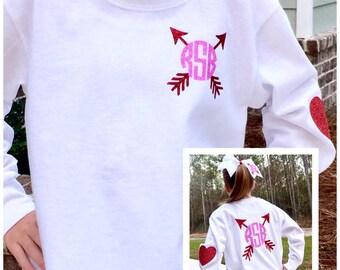 Valentine's Shirt, Heart Shirt, Monogram Valentine's day t shirt, Valentine's hair bow, Valentine's Day t shirt, Monogrammed Front and Back