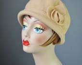 Wool Cap with Rose / Vtg ...