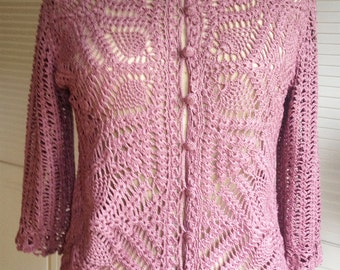 Vintage Silk Crochet Cardigan Dusty Rose