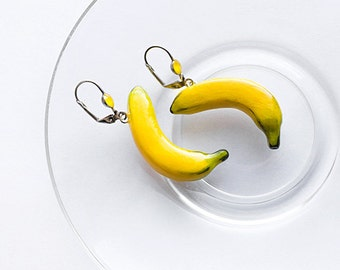 Banana yellow earrings, funny bright fashion jewelry, summer mood vegetarian jewelry