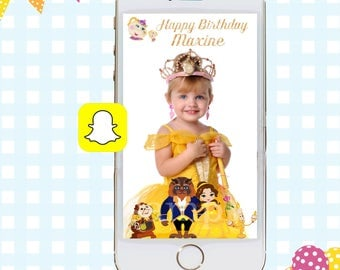 Beauty and the Beast Snapchat GeoFilter, Birthday Snapchat Filters, Party Snapchat Filter, Princess Belle Snapchat GeoFilter, Birthday Party