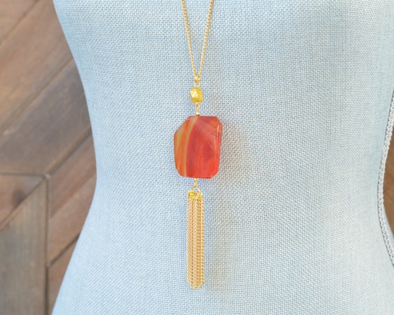 Long Tassel Necklace - Chain Tassel Necklace - Long Fringe Necklace - Stone Tassel Necklace - Cherry Quartz Rust Red Necklace - Statement