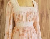 1970s Floral Peach Gunne Sax Dress, Seventies Empire Waist Flowy Maxi, Peachy Flower Child Dress w/ Sheer Sleeves, Hippie Boho Festival Maxi