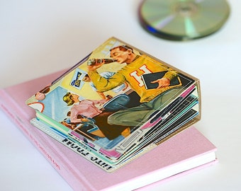 18 CD Wallet/ CD Holder Book Handmade from Upcycled Album Cover, CD Case, Dvd Album, Video Game Storage