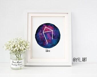 Libra constellation Print- Zodiac Watercolor print, Astrology art, Birthday gift