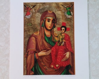 """Art Sale! Virgin Mari By Ekaterina Stoyanovia Signed Limited Edition 3/10 Mother and Child Red Green Gold 16"""" x 20"""" White Mat & Backing"""