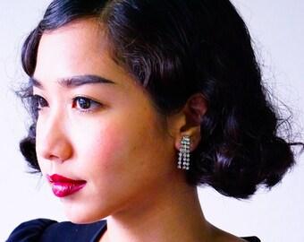 Vintage Rhinestone Earrings/ Vintage Earrings/ Vintage Jewelry/ Earrings/ 1950s Jewelry/ Antique jewelries/ Rhinestone Jewelry